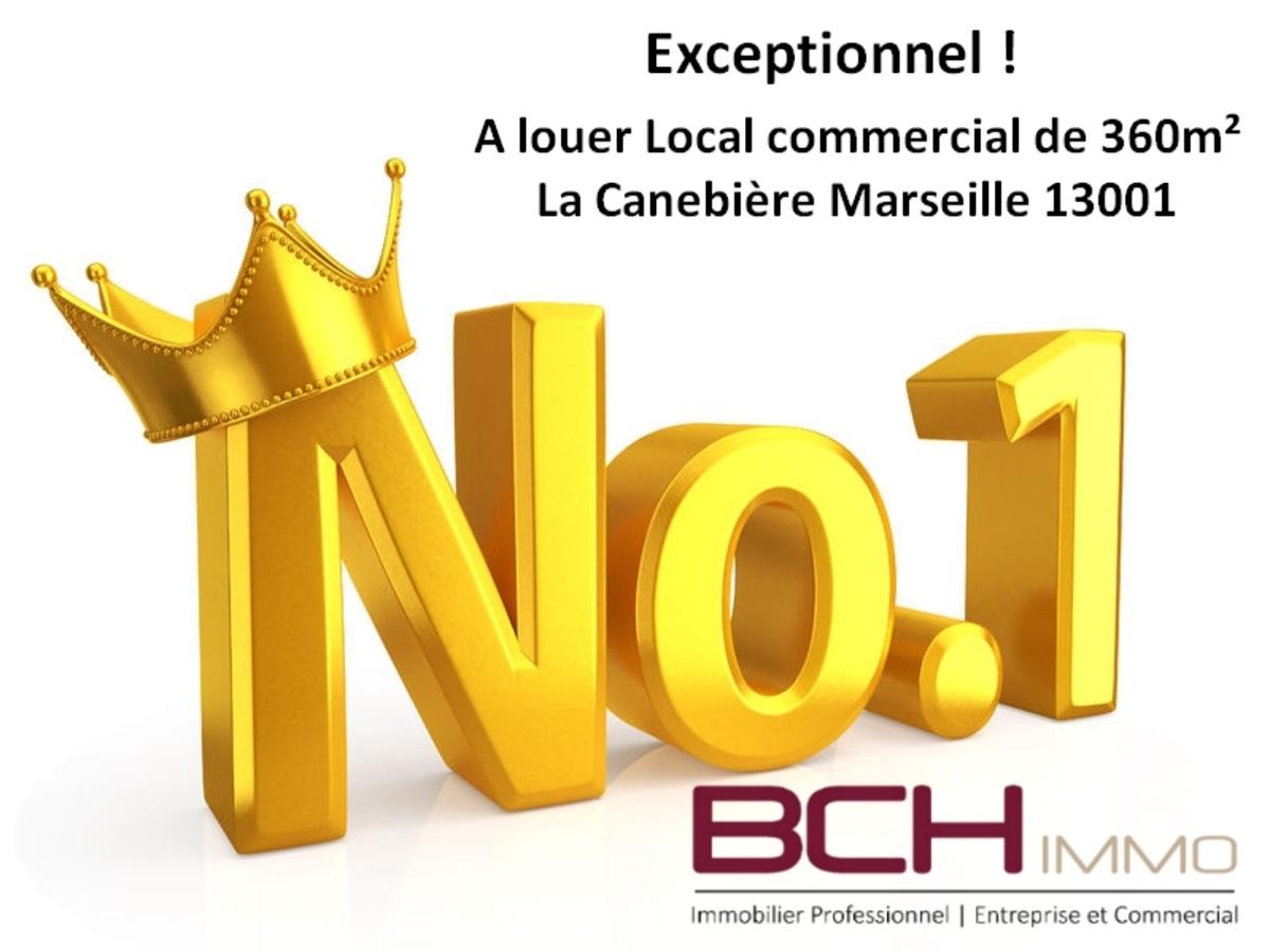 L'agence immobilière BCH IMMO, spécialiste en immobilier commercial à Marseille, vous propose la location de ce local commercial idéalement situé à La Canebière Marseille 13001